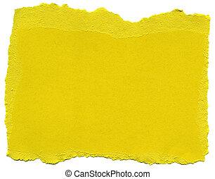 -, papier, randen, vezel, gele, gescheurd