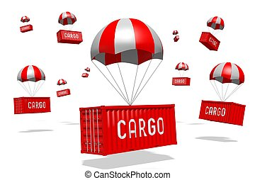 -, parachute, concept, rendre, livraison, 3d