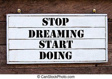 -, parada, comienzo, inspirador, soñar, mensaje