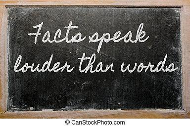 -, paragonato a, scritto, più forte, parole, fatti,...