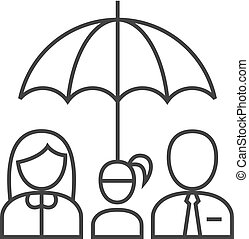 -, parapluie, contour, famille, icône