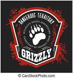 -, pardo, emblemas, elements., etiqueta, desenho, militar, urso