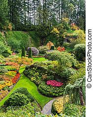 -, parte, central, jardín, hundido