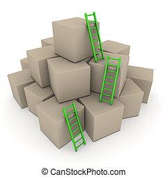 -, partij, op, ladders, dozen, groene, glanzend, klimmen