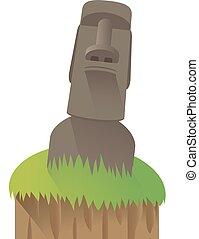 -, pascua, moai, isla