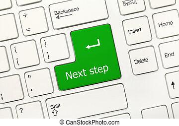 -, passo, prossimo, key), tastiera, concettuale, bianco, (green