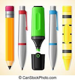 -, pastello, matita, highlighter, scuola, penna, attrezzi