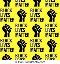 -, patrón, fondo., texto, textura, apretado, negro, amarillo, vidas, printable, puño, seamless, movimiento, cartel, asunto
