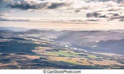 -, paysage, montagnes, secteur, rivière, scotland's, ...