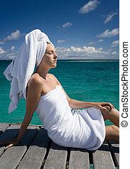 -, pazifik, polynesien, franzoesisch, luxus, spa, süden