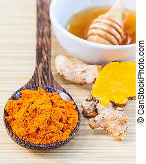 -, peau, miel, ingrédients, care., curcuma, naturel, spa