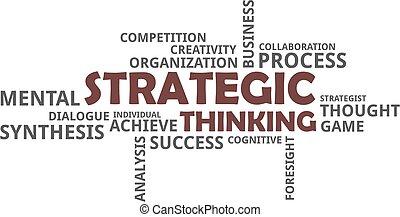 -, pensamiento, estratégico, palabra, nube