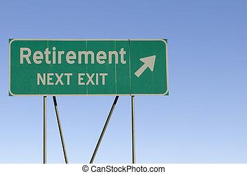 -, pensionierung, ausgang, straße, nächste