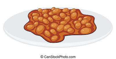 -, pequeno almoço inglês, feijões, cozinhado