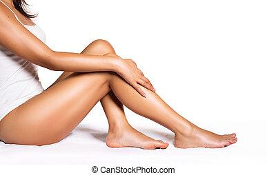 -, perfeitos, beleza, pernas