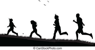 -, persone, nero, correndo, famiglia, silhouette