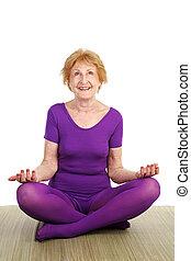 -, personne agee, contentement, yoga