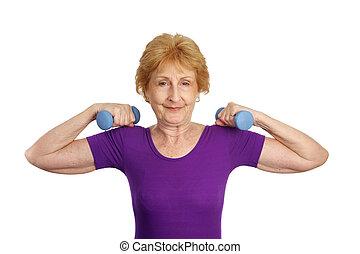 -, personne agee, force, séance entraînement