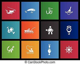 -, pesca, metro, ícones