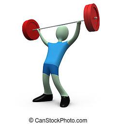 -, peso-levantar, #5, esportes