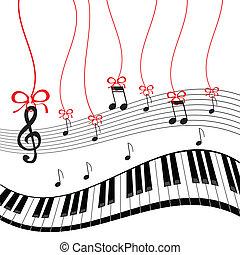-, piano, musique, fond