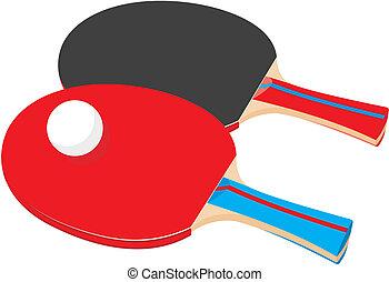 -, ping-pong, raquettes, deux