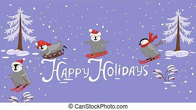-, pingouins, sport., holidays., bannière, hiver, heureux, inscription