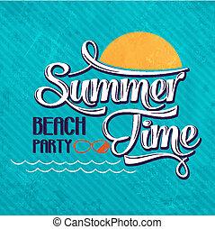 "-, pisanie, plaża, czas, calligraphic, party"", ""summer"