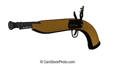-, pistole, render, 3d