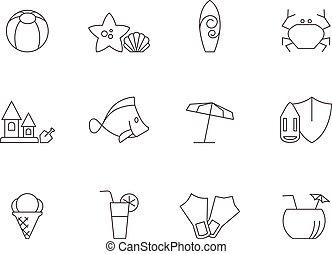 -, plage, contour, icônes