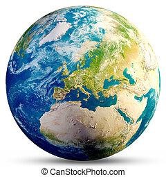 -, planète, rendre, europe, 3d, la terre