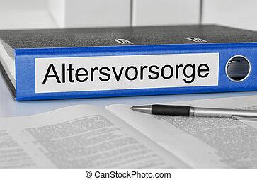 -, plan, pension, altersvorsorge, dossier, étiquette, allemand