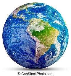 -, planeta, fazendo, terra, américa, sul, 3d