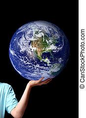 -, planeta, palma, manos, mundo, su, tierra