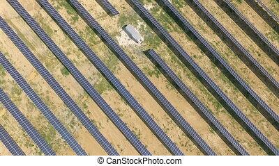 -, plant., 航空写真, 太陽, パネル, 打撃, 力