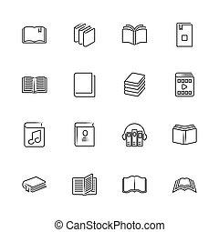 -, plat, boekjes , iconen, vector