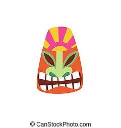 -, plat, tiki, coloré, masque, dessin animé, face souriant, icône