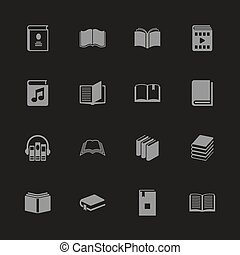 -, plat, vector, boekjes , iconen