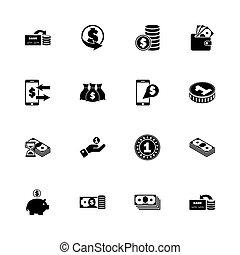 -, plat, vector, iconen