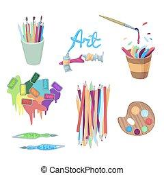 -, plonsen, cuvettes, accessoires, kunstenaar, pencils., logos, vector, buizen, illustratie, platra, verven, ontwerp, druppels, elements., s, of, verven