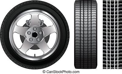 -, pneu, borda, roda, alumínio