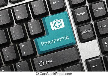 -, pneumonia, key), teclado, conceitual, (blue