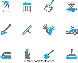 -, poetsen, toon, gereedschap, duo, iconen