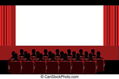 -, pokój, czerwony, kino