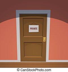 -, pokój, prywatny, czerwony