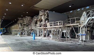 -, polpa, papel, plano, moinho, fábrica