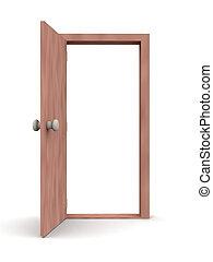 -, porta, cartone animato, aperto