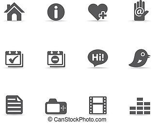 -, portf, ikony, jednorazowy, kolor, osobisty
