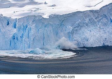 -, porto, geleira, antártica, calving, neko