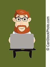 -, posiedzenie, laptop, doktor, pracujący